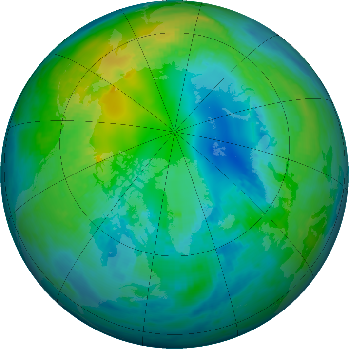 Arctic ozone map for 29 October 1979