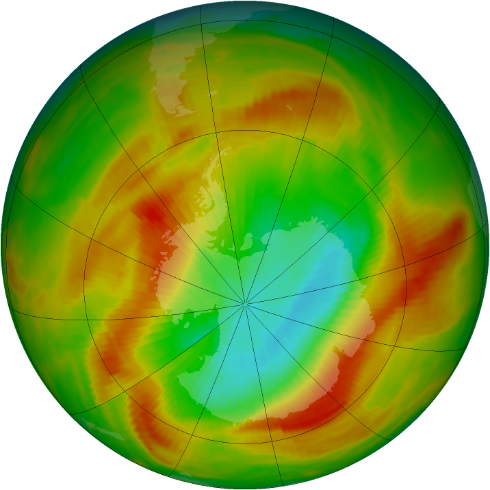 Antarctic ozone map for 29 October 1979