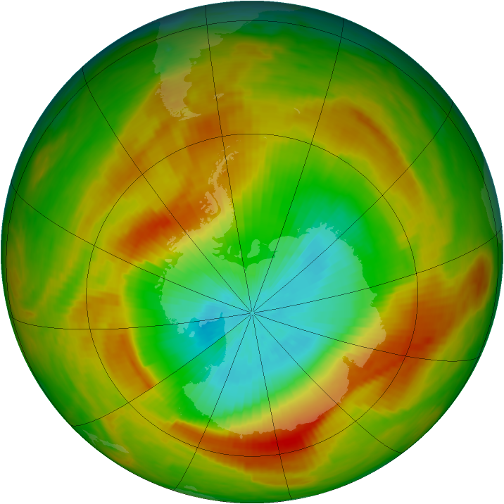 Antarctic ozone map for 30 October 1979