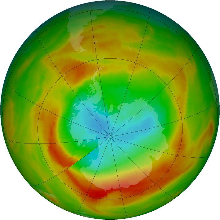 Antarctic ozone map for 31 October 1979