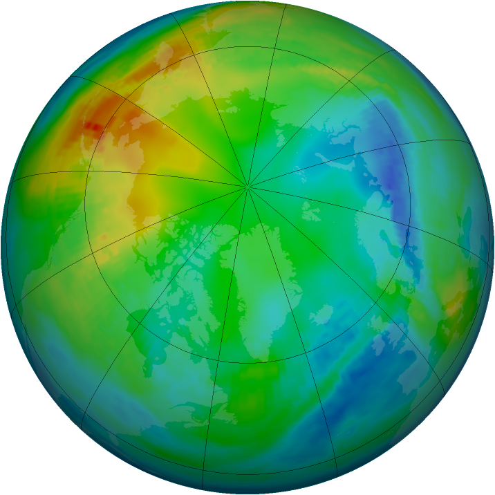 Arctic ozone map for 19 November 1979