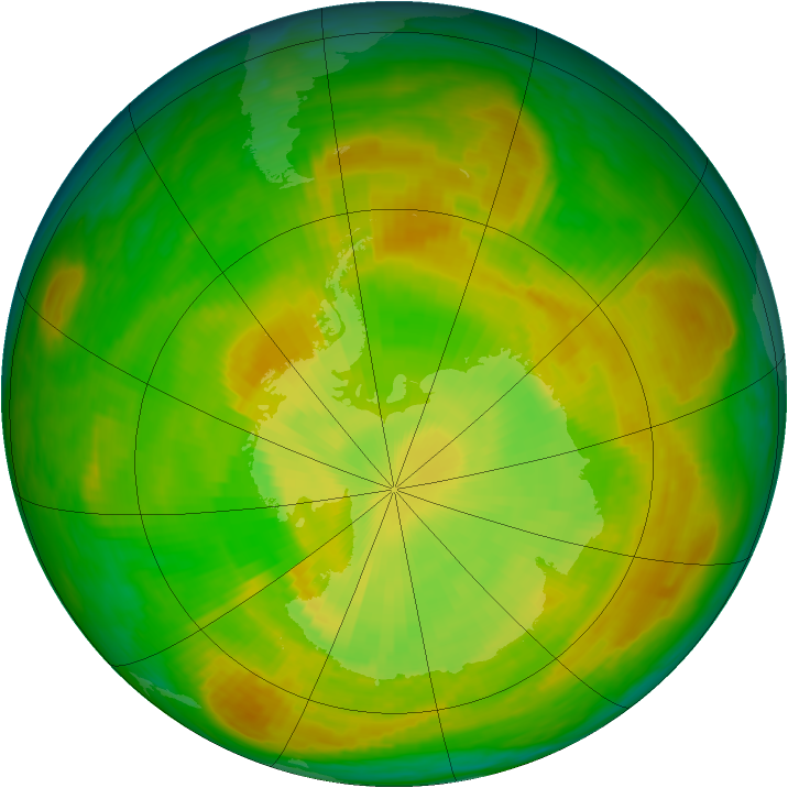 Antarctic ozone map for 02 December 1979