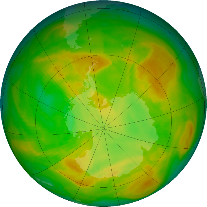 Antarctic ozone map for 05 December 1979