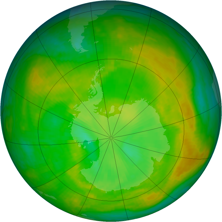 Antarctic ozone map for 21 December 1979