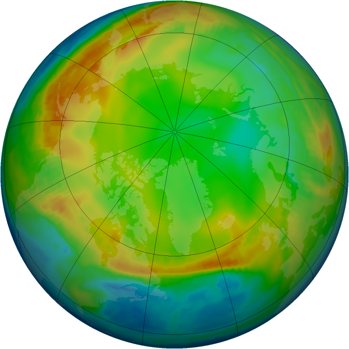 Arctic ozone map for 25 December 1979