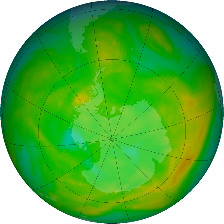 Antarctic ozone map for 25 December 1979
