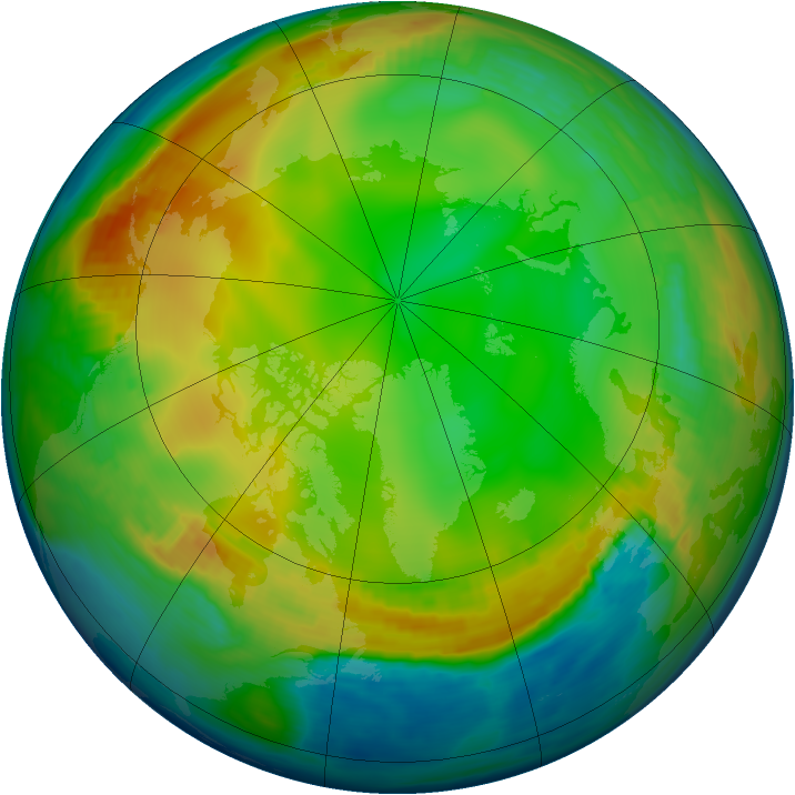 Arctic ozone map for 26 December 1979