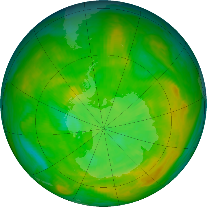 Antarctic ozone map for 26 December 1979