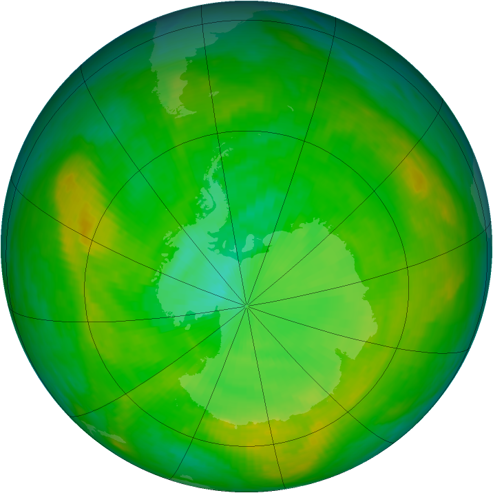 Antarctic ozone map for 02 January 1980