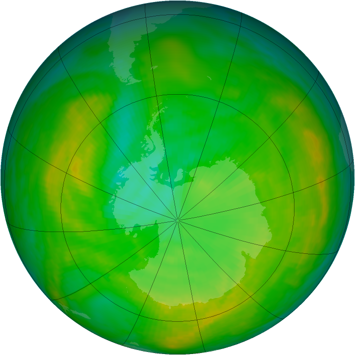 Antarctic ozone map for 03 January 1980