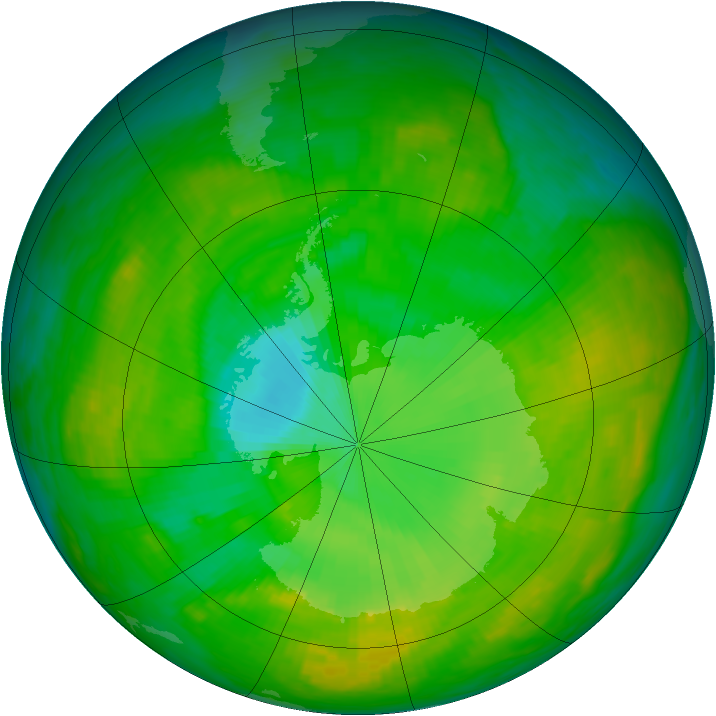 Antarctic ozone map for 05 January 1980