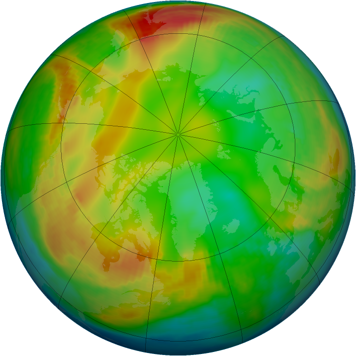 Arctic ozone map for 06 January 1980