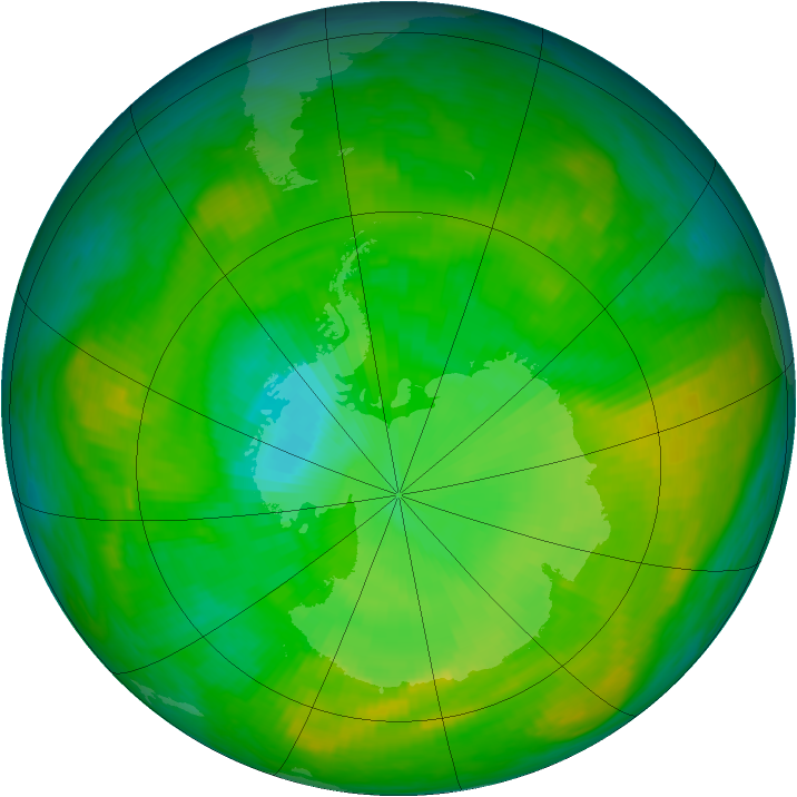 Antarctic ozone map for 06 January 1980
