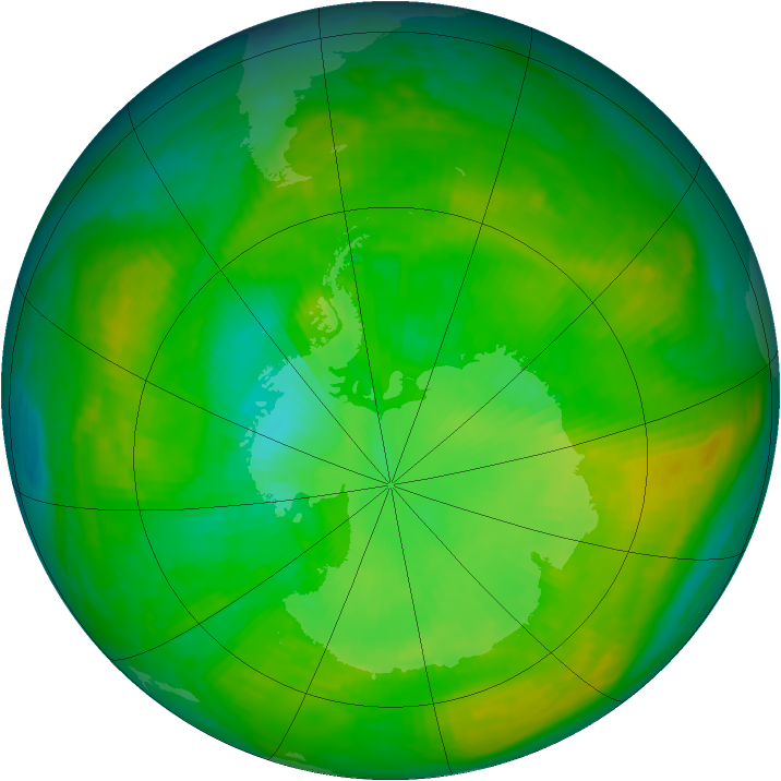Antarctic ozone map for 07 January 1980