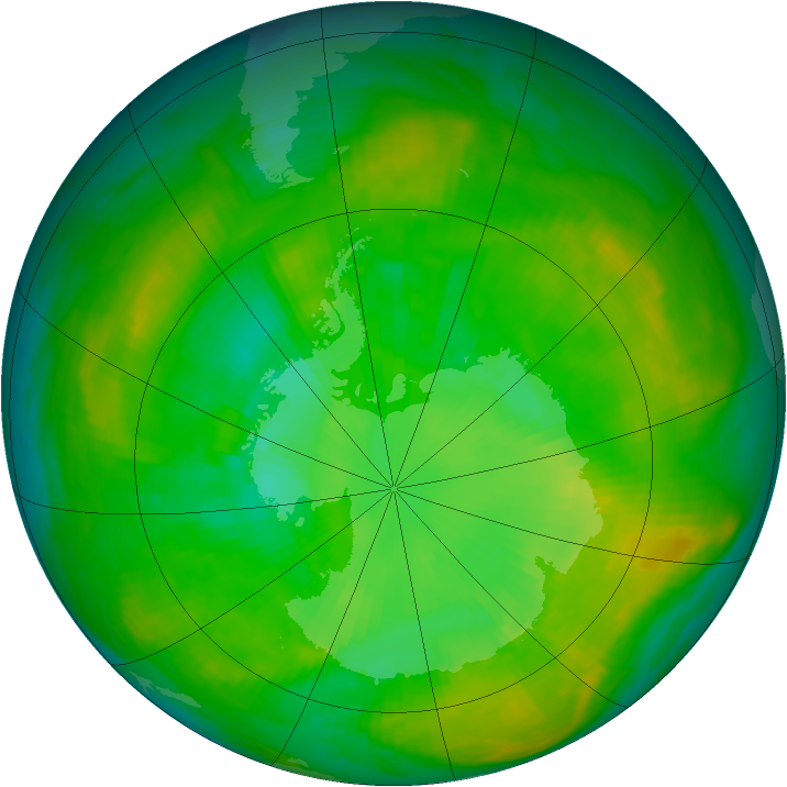 Antarctic ozone map for 08 January 1980
