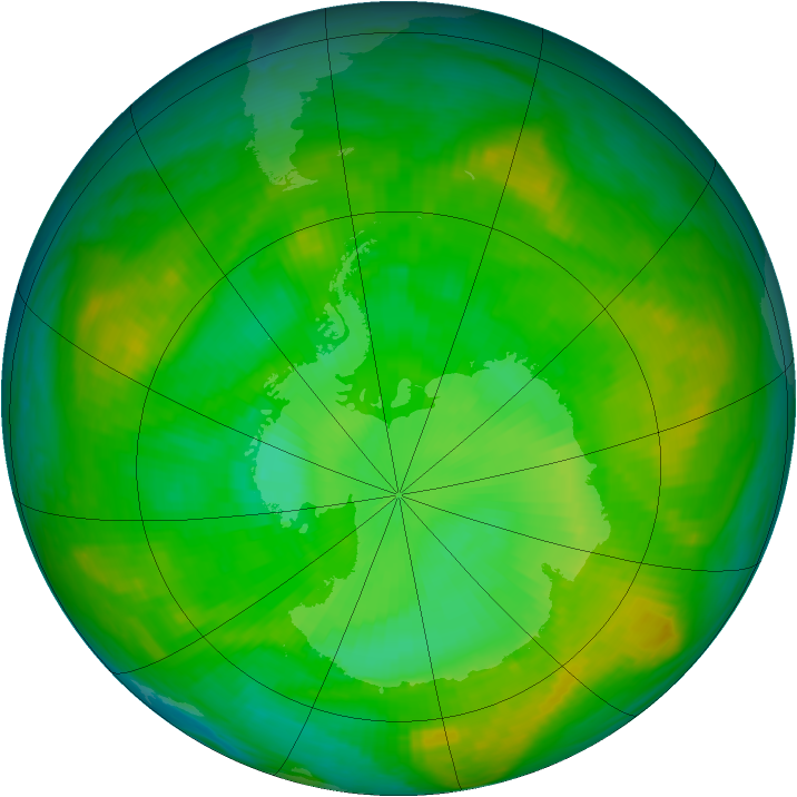 Antarctic ozone map for 09 January 1980