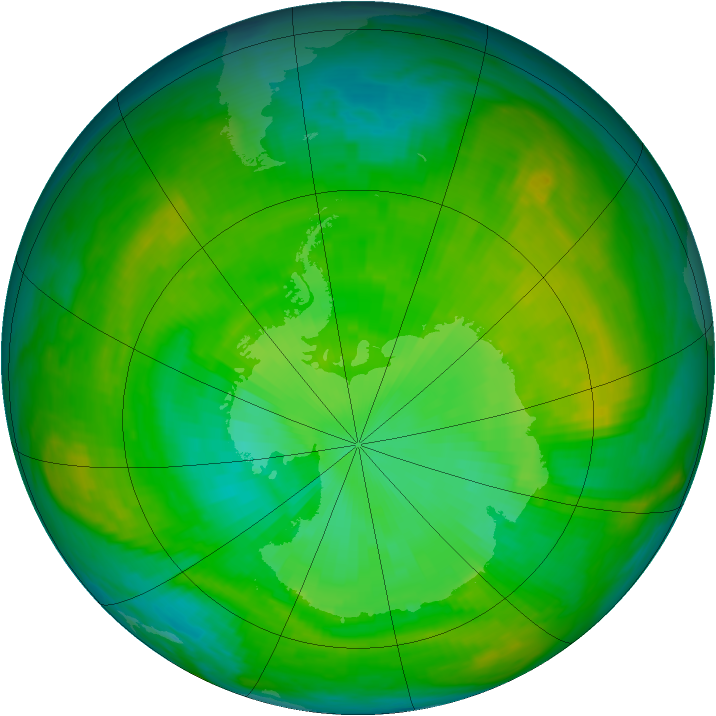 Antarctic ozone map for 15 January 1980