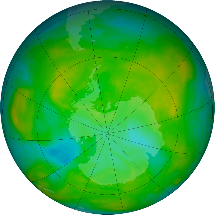 Antarctic ozone map for 17 January 1980