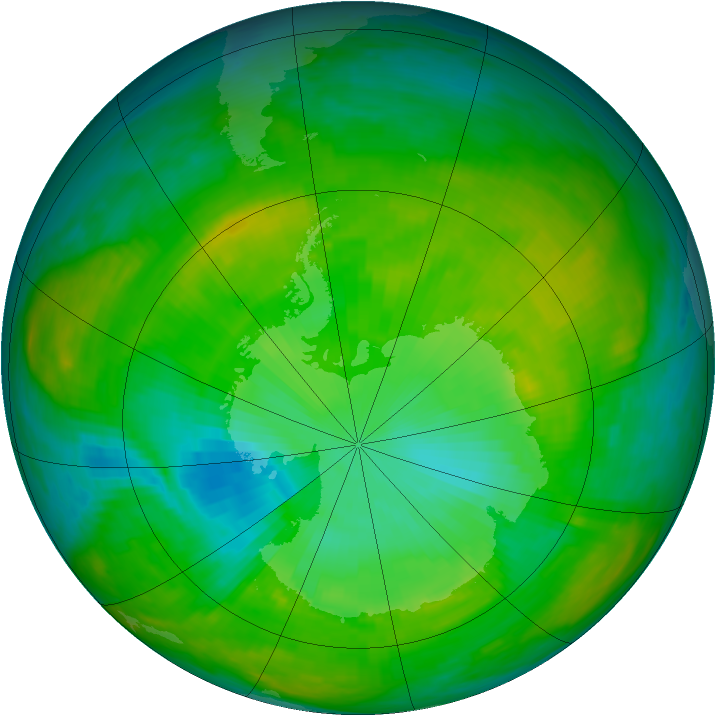 Antarctic ozone map for 18 January 1980