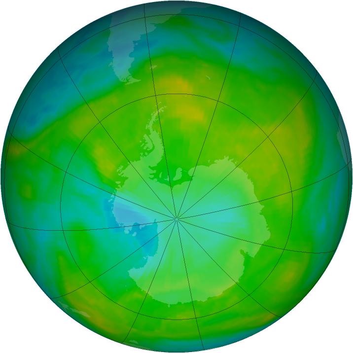 Antarctic ozone map for 20 January 1980