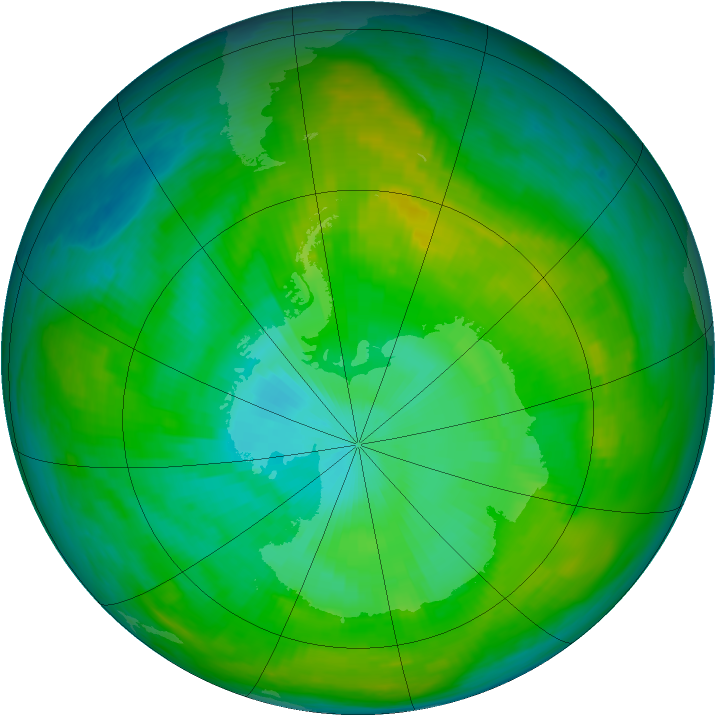 Antarctic ozone map for 24 January 1980