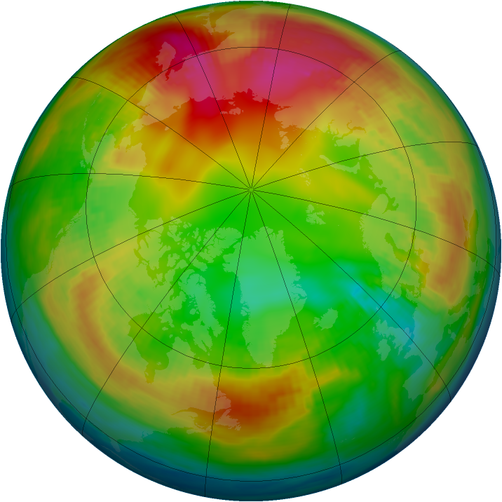 Arctic ozone map for 27 January 1980