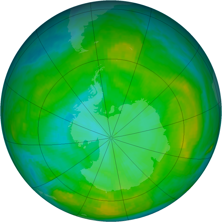 Antarctic ozone map for 27 January 1980