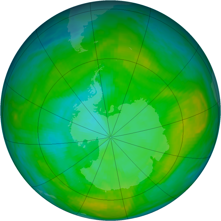 Antarctic ozone map for 28 January 1980