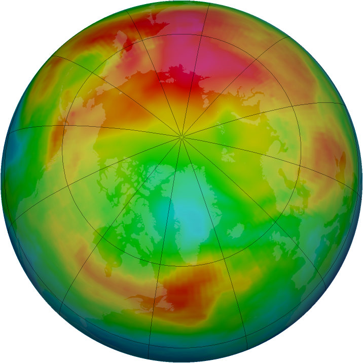 Arctic ozone map for 29 January 1980