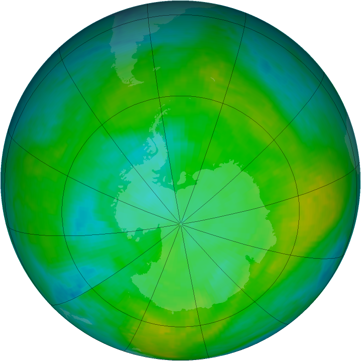 Antarctic ozone map for 29 January 1980