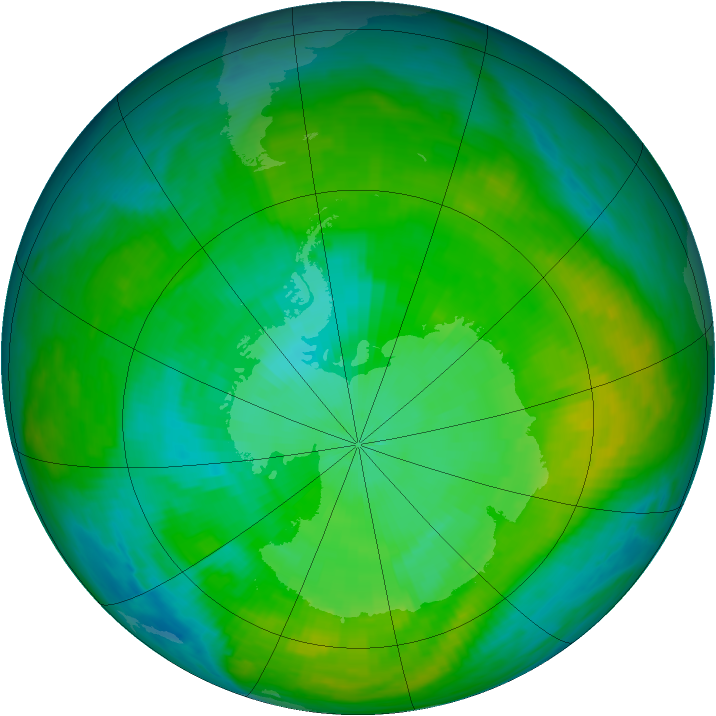 Antarctic ozone map for 30 January 1980