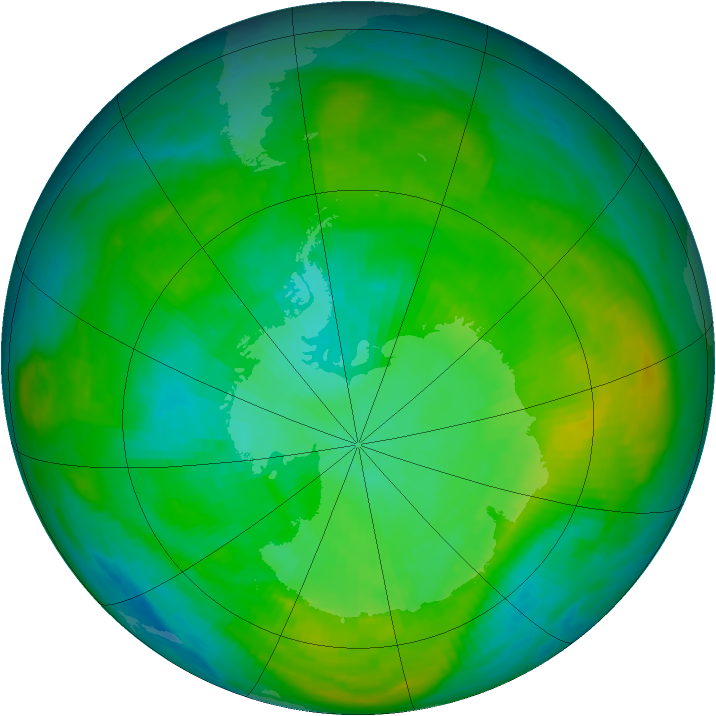 Antarctic ozone map for 31 January 1980