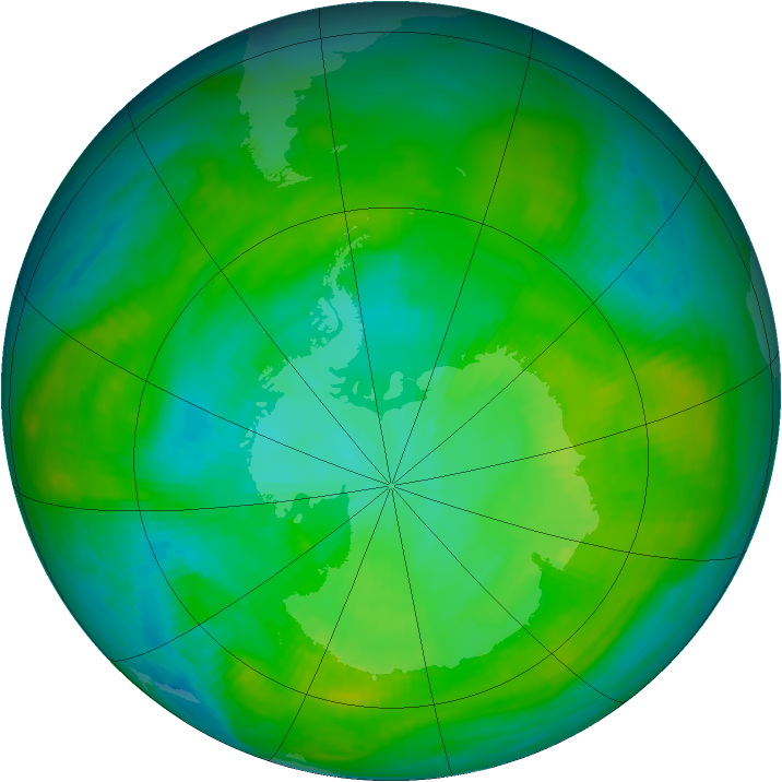 Antarctic ozone map for 03 February 1980