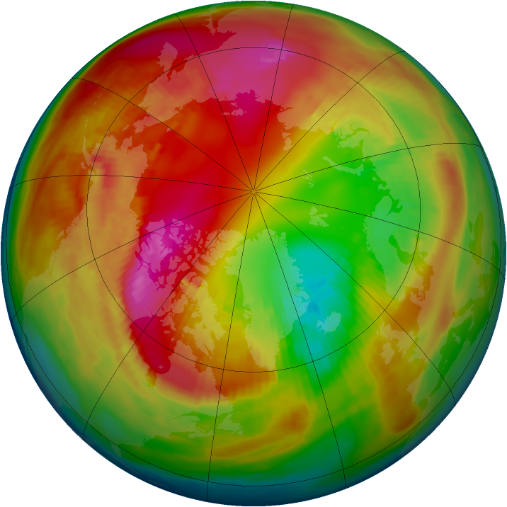 Arctic ozone map for 19 February 1980