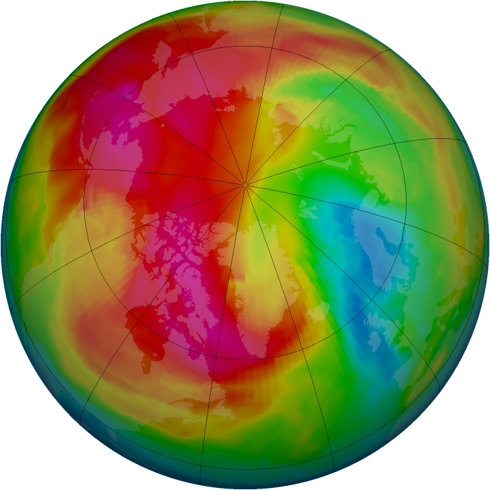 Arctic ozone map for 24 February 1980