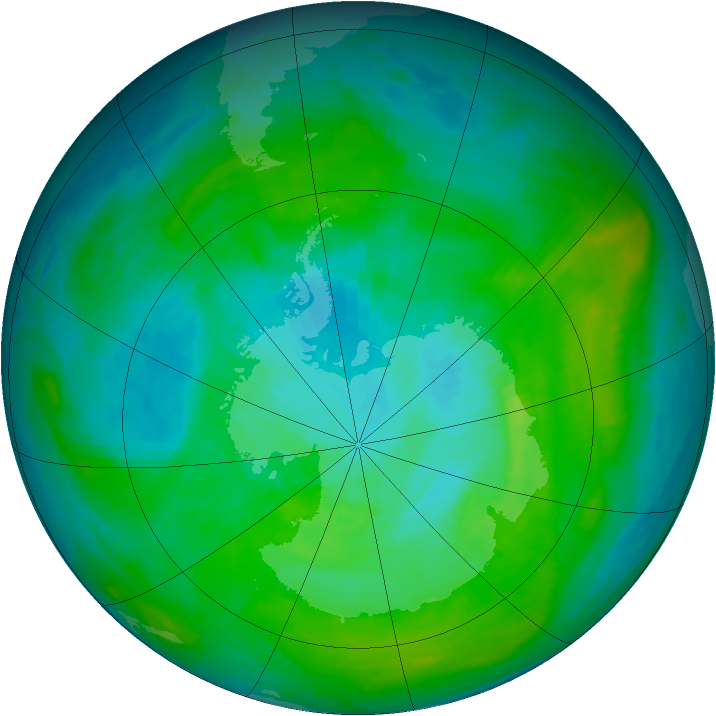 Antarctic ozone map for 26 February 1980