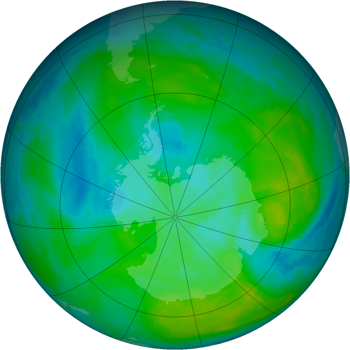 Antarctic ozone map for 28 February 1980