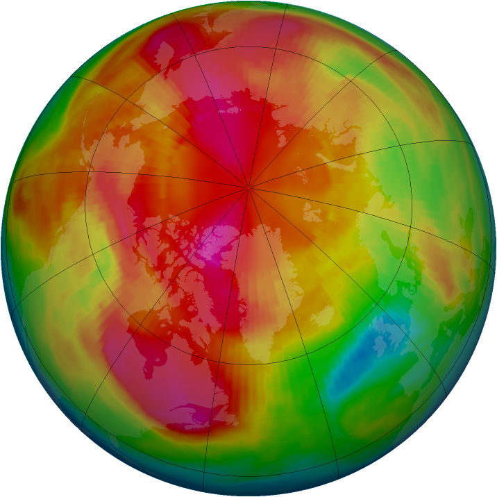 Arctic ozone map for 29 February 1980