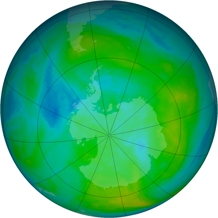 Antarctic ozone map for 29 February 1980
