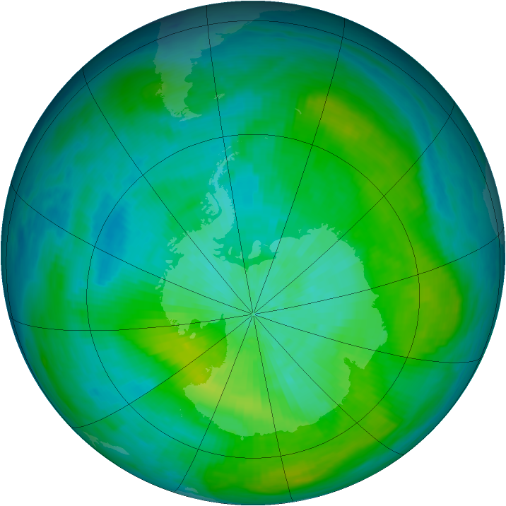 Antarctic ozone map for 04 March 1980
