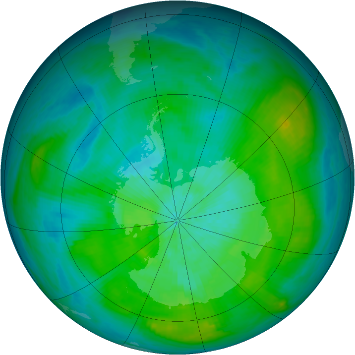 Antarctic ozone map for 06 March 1980