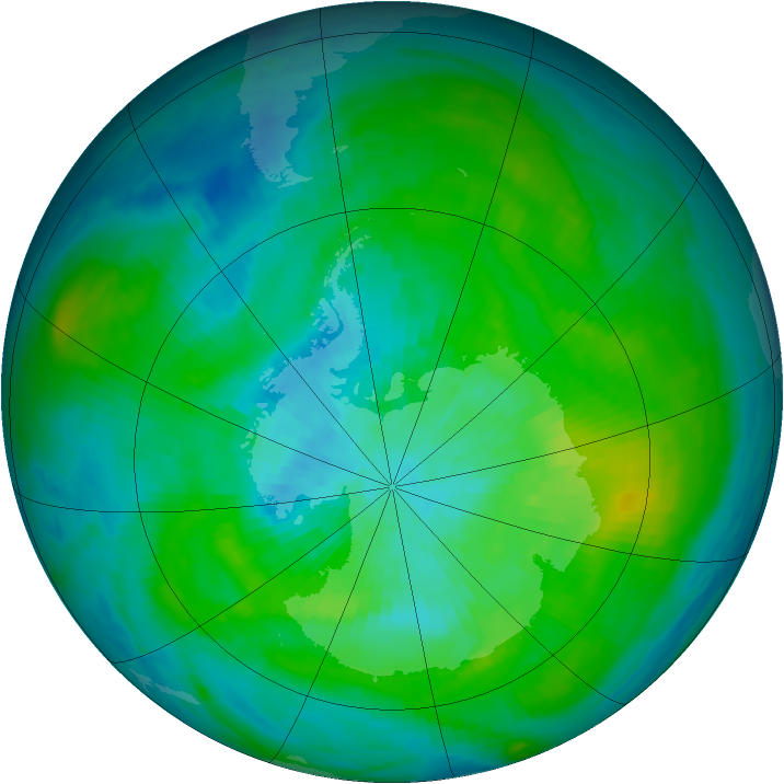 Antarctic ozone map for 10 March 1980