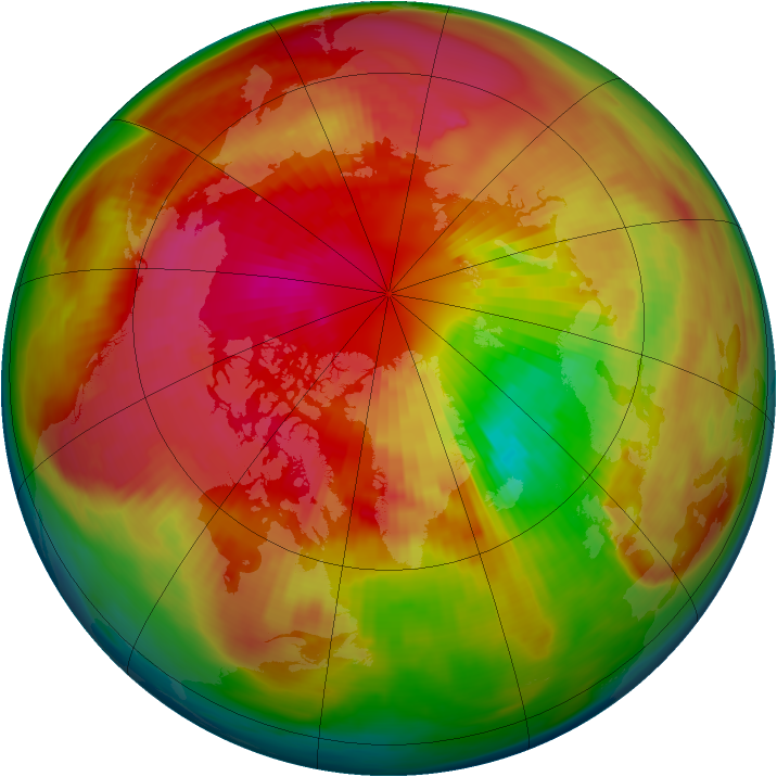 Arctic ozone map for 15 March 1980
