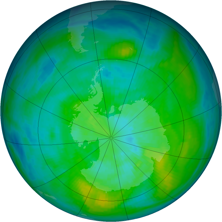 Antarctic ozone map for 23 March 1980