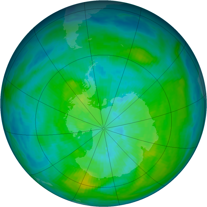 Antarctic ozone map for 24 March 1980