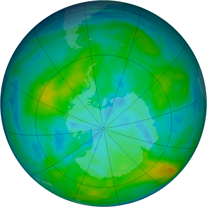 Antarctic ozone map for 28 March 1980