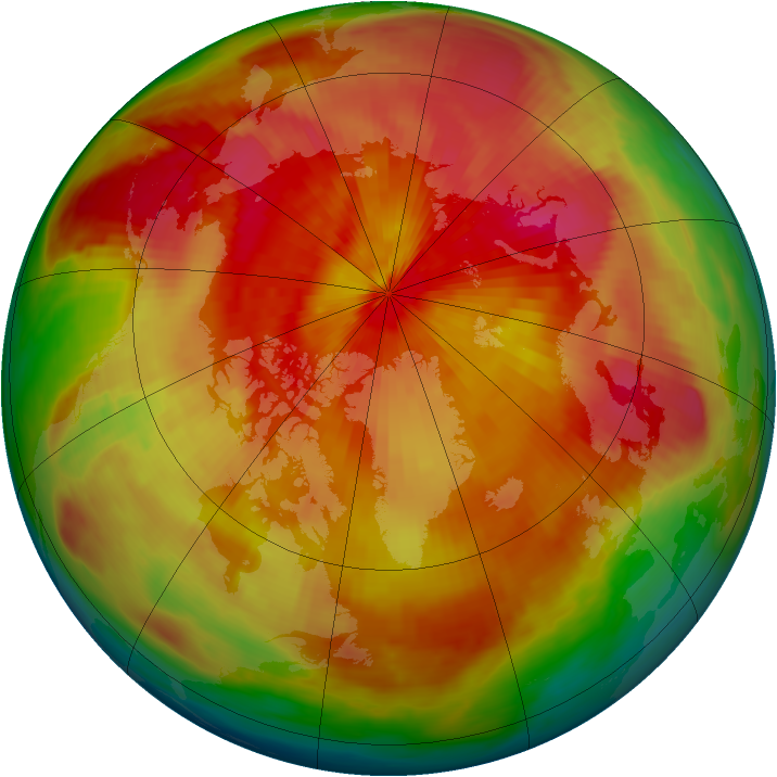 Arctic ozone map for 31 March 1980