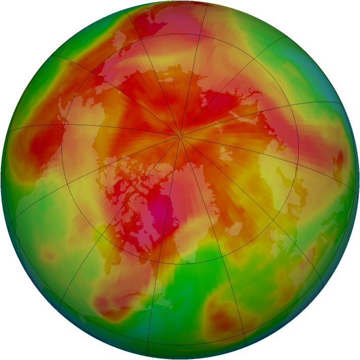 Arctic ozone map for 16 April 1980
