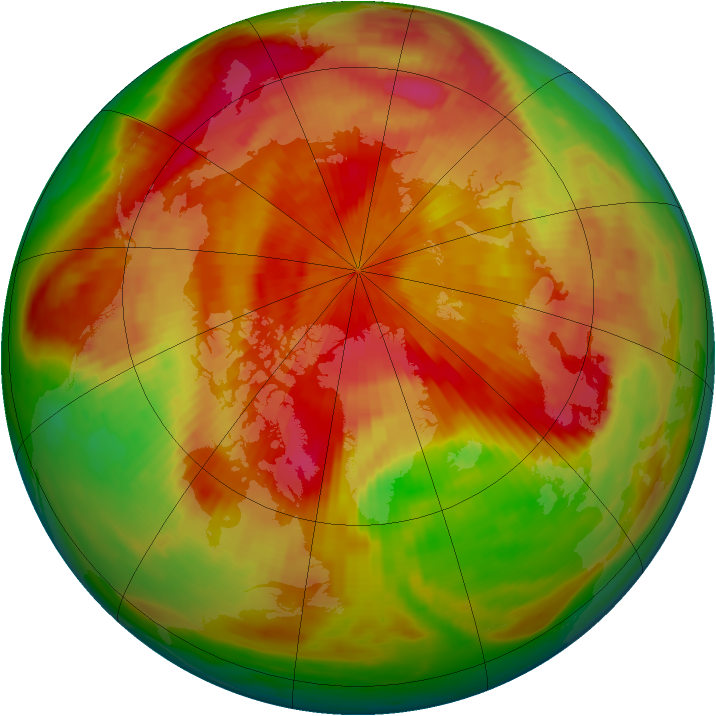 Arctic ozone map for 19 April 1980