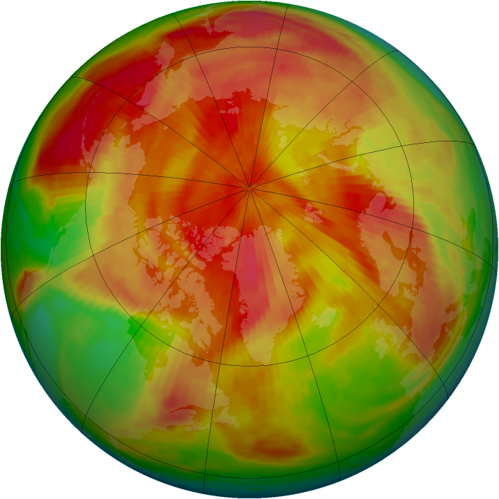 Arctic ozone map for 21 April 1980
